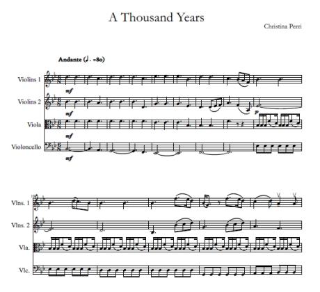 A Thousand Years Christina Perri string quartet