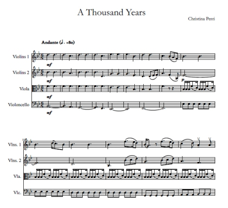 A Thousand Years Christina Perri string quartet