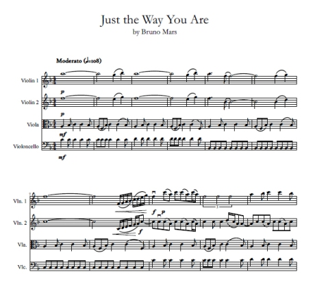Just the Way You Are Bruno Mars string quartet